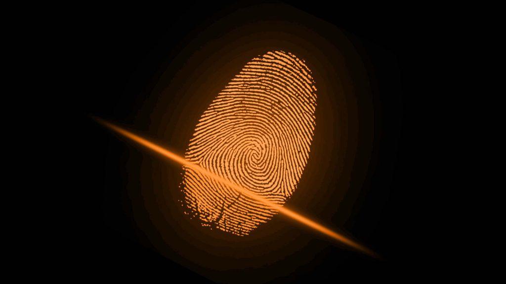 Empreinte digitale qui réprésente l'identité du logo